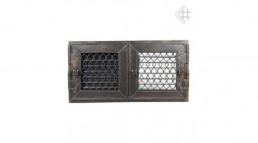 Kovácsoltvas zsalus kandalló szellőzőrács 22x44 cm